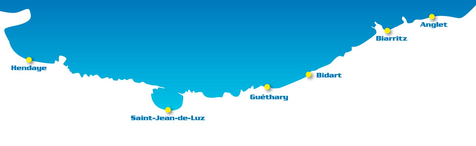 la carte des plages de la cote basque les spots de surf